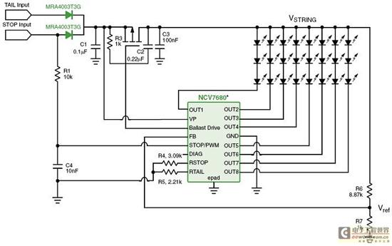 图9: ncv7680在led组合尾灯中的应用电路图