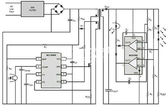 典型应用包括led驱动器电源,led嵌灯,三端双向可控硅开关组件(triac)