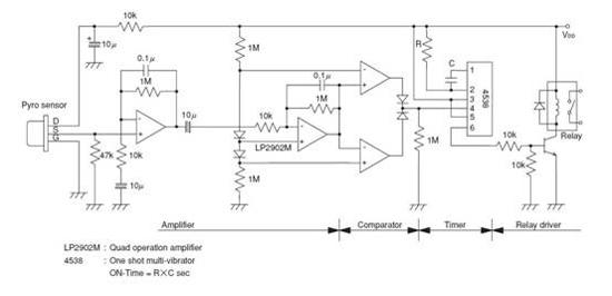 2902m)的仪表放大器放大和比较,经cd4538多谐振荡器组成的计时器电路