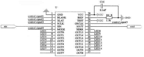 由原理图3可以看出,电源电路给tcl5941芯片提供电源的同时给led灯