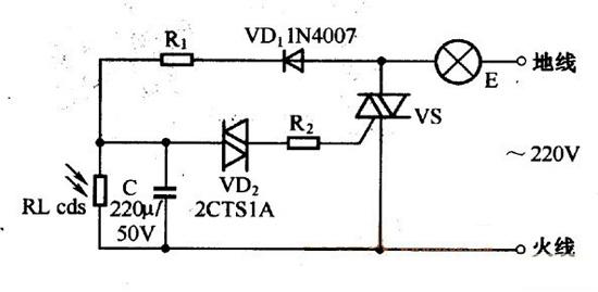 1电路原理图   光控灯开关的电路如图2-1虚线框内所示.