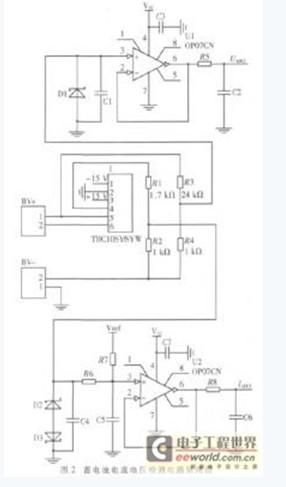 电流检测电路由霍尔电流传感器tbc10sy和取样电阻,电平调整电路,跟随